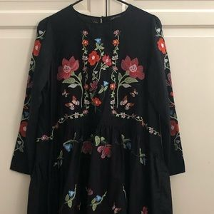 Zara Dress, Black cotton with embroidered flowers